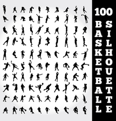 100 basketball silhouette vector image