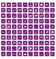 100 team icons set grunge purple vector image