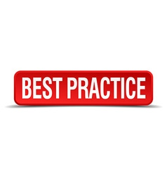 best practice red three-dimensional square button vector image
