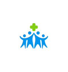 cross care happy people logo vector image vector image