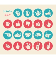 Hands gestures flat icons set vector image