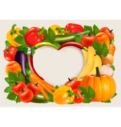 Heart shaped background made of vegetables and vector