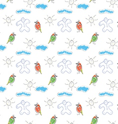 seamless wallpaper children drawings of the sun vector image