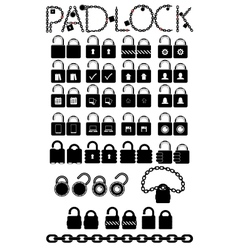 set web icons pudlock chain links vector image