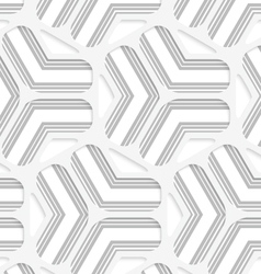 3D white rounded grid with gray stripes vector image vector image