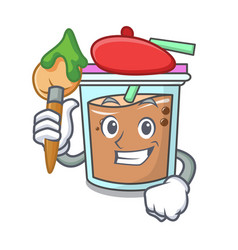 artist bubble tea character cartoon vector image