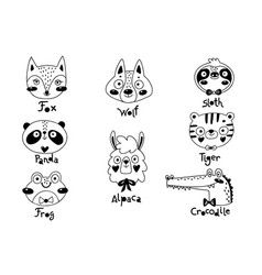 avatars funny animal faces sloth tiger wolf alpaca vector image