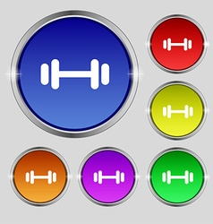 barbell icon sign Round symbol on bright colourful vector image