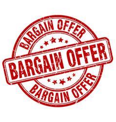 bargain offer red grunge round vintage rubber vector image