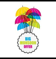 Big monsoon offer banner design with umbrella vector