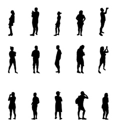 Black and White Silhouettes of People vector