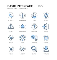 Blue Line Basic Interface Icons vector image