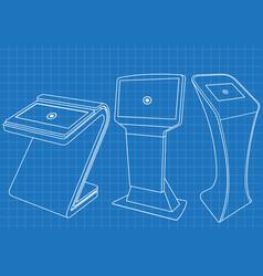 blueprint of set of interactive information kiosk vector image