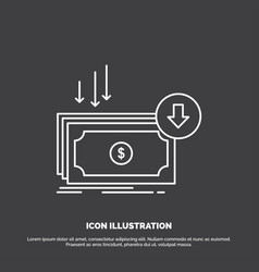 Business cost cut expense finance money icon line vector