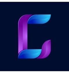C letter volume blue and purple color logo design vector image