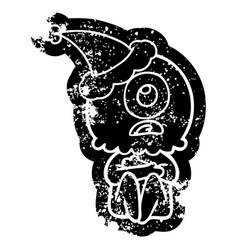 Cartoon distressed icon of a cyclops alien vector