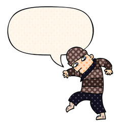 Cartoon sneaking thief and speech bubble in comic vector