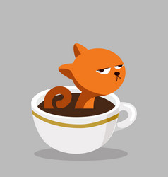 Cat with black coffee cup vector