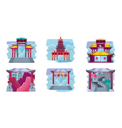 chinese culture architecture icons vector image