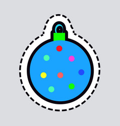 Christmas and new year ball isolated blue toy vector