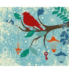 christmas background tree branch with bird vector image
