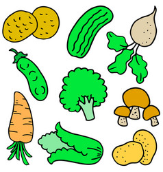 Collection stock fresh vegetable set doodles vector