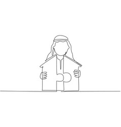 Continuous one line drawing young handsome arab vector