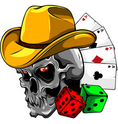 Cowboy skull with poker ace and dice vector