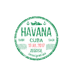 Cuba arrival immigration sign isolated visa stamp vector