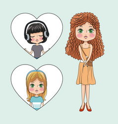 cute girls cartoon vector image
