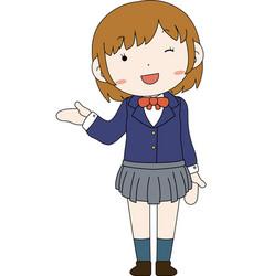 Cute pose cute brown hair schoolgirl vector