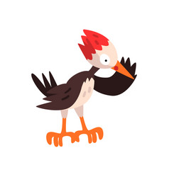 Cute woodpecker funny bird cartoon character vector