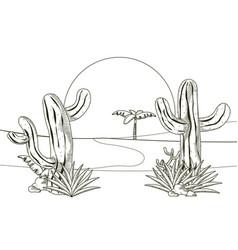 desert landscape hand drawn cartoon vector image