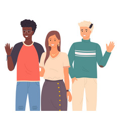different race young people greet say hello vector image