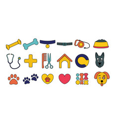 Dog set cartoon icons puppy object pet symbols vector