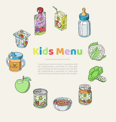 Doodle kids menu and baby food poster vector