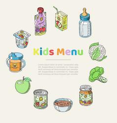 doodle kids menu and bafood poster vector image