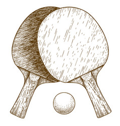 Engraving ping pong table tennis two rackets vector