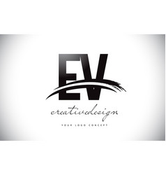 Ev e v letter logo design with swoosh and black vector