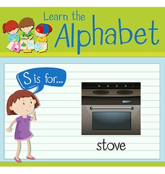 Flashcard letter S is for stove vector image