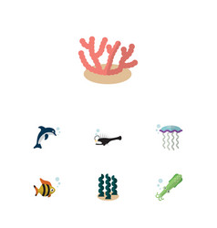flat icon sea set of seafood octopus alga and vector image