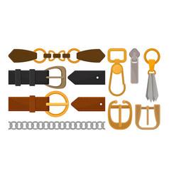 Flat set of belt elements stylish leather vector