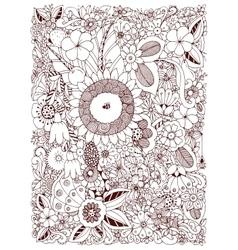 Floral frame Zen Tangle vector