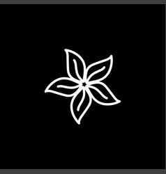 flower line icon on black background black flat vector image