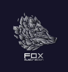 fox or wolf design icon logo luxury silver vector image