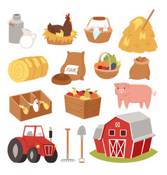 Funny landscape farm tools cartoon farming house vector