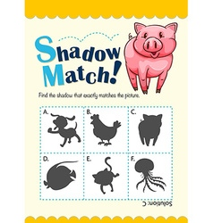Game template with shadow matching pig vector image