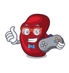 Gamer spleen mascot cartoon style vector