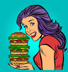 Giant burger hungry woman eating fast food vector