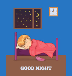 good night poster with girl sleeping in bed vector image